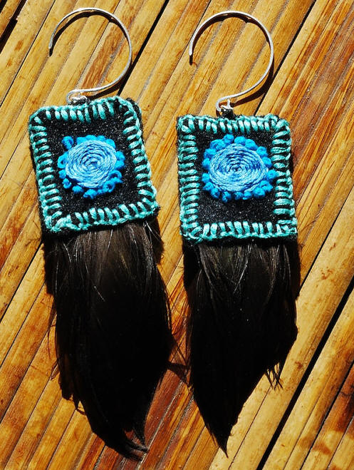 In the Blue -- Cruelty-Free duck feathers with hand embroidered felt and hand hammered, sterling silver ear wires